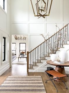 The Sunday High Point Trends Project Peeks and My Top Picks from the Nordstrom Sale Stair Railing Ideas High Nordstrom Peeks Picks Point project sale Sunday Top Trends Railing Design, Staircase Design, Staircase Ideas, Hallway Ideas, Staircase Walls, Stair Paneling, Stairwell Wall, White Staircase, Railing Ideas