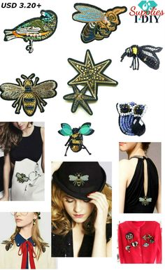Sequin Patches Queen Bee Bead Owl Crystals Brooches Patches Bird Embroidered Beaded Patch for Clothes Stars Applique Fabric Patch , 1 PCS