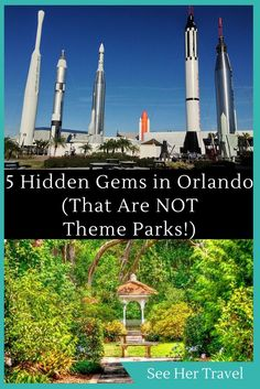 Orlando, Florida is famous for theme parks and Disney adventures, but what many people miss are the many hidden gems in Orlando for adults! Beautiful gardens, the Kennedy Space Centre, quirky dinner theatre and more await this American landmark. Orlando Travel, Orlando Vacation, Florida Vacation, Florida Travel, Florida Trips, Orlando Disney, Downtown Disney, Orlando Florida, Orlando Theme Parks