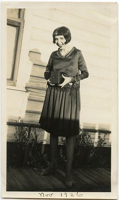 1926 mid 20s found photo print girl holding camera shift dress day wear casual