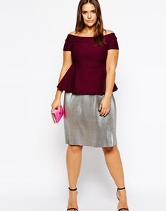 645c0c42fe2 Enlarge ASOS CURVE Exclusive Bardot Top with Peplum In Texture Real Bodies