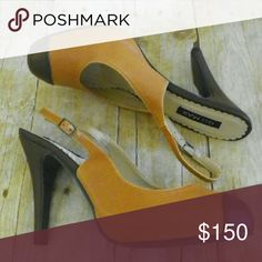"✂Vintage style ""Lauren"" cap toe slingback pumps Faux leather two tone cap toe sling back pumps with 5"" heel. I'm not sure if these were ever worn, but they do have minor shelfwear.  No trades. Go Max Shoes Heels"