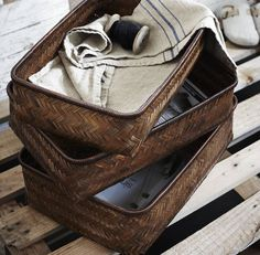 Set Of Three Bamboo Rectangular Baskets - No longer available - but similar to this for TV Tivo & boxes.