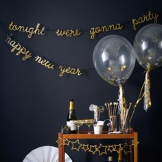 Put the finishing touch to any party with this festive gold super sparkly garland Gold glitter covered lettering spells out 'tonight we're gonna party' and 'Happy New Year'; It makes a classy addition to your party room, especially when you pair it up with our gold confetti balloons! Its all about the 'BLING' this christmas All letters are lower case. Comes with black ribbon already attached and ready to hang ...