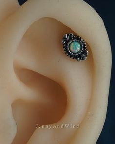 cartilage earring cartilage piercing helix piercing opal helix earring silver unique boho bohemian jewelry oxidized sterling silver by JennyAndWind on Etsy Helix Jewelry, Ear Jewelry, Cartilage Earrings, Dainty Jewelry, Gold Jewellery, Body Jewelry, Ear Piercings Cartilage, Body Piercing, Cute Ear Piercings