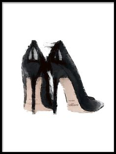 Jimmy Choo, Poster - Poster with fashion illustration of black pumps. Informations About Jimmy Choo, Poster Pin You can e - Jimmy Choo, Black Pumps, Black Shoes, Fashion Prints, Fashion Art, Fashion Design, Slingback Chanel, Mode Poster, Poster Poster
