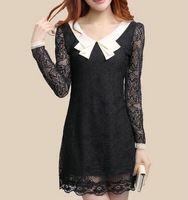 New 2017 Spring Autumn Winter Dress Women Korean Style Fashion Long Sleeve Peter Pan Collar with Lining Plus Size Lace Dress