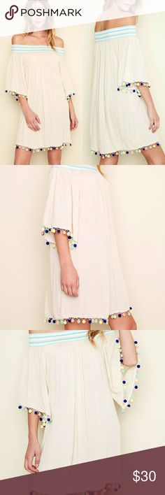"""Coachella Boho Pom Pom Ivory Off Shoulder Dress HAYDEN, Los Angeles  Boho Summer-Ready Festive Pom Pom Trim Flowy Dress or Tunic  The Details:  100% Woven Crinkled Rayon, with wide, decorative stretch band at shoulder area.  Solid Natural Ivory, with festive-fun colorful pom-pom trim at 3/4 sleeves, and bottom!  Flowy Silhouette, Pullover Style.  Imported.  S: Bust 36"""" - 40"""", Hip 46"""" - 48"""", Length 30""""  M: Bust 38"""" - 42"""", Hip 48"""" - 50"""", Length 31""""  L: Bust 40"""" - 44"""", Hip 44"""" - 48"""", Length 32""""…"""