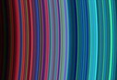 "Saturn's Colorful Rings by NASA/JPL/University of Colorado via wired.com: Images taken during the Cassini spacecraft's orbital insertion on June 30 show definite compositional variation within the rings.  The general pattern is from ""dirty"" particles indicated by red to cleaner ice particles shown in turquoise in the outer parts of the rings. #Astronomy #Saturn"