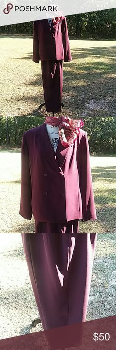 Suit by Laura Scott  burgundy color 2pc pants suit double breasted lined and ready for the fall and winter Laura Scott Jackets & Coats Blazers