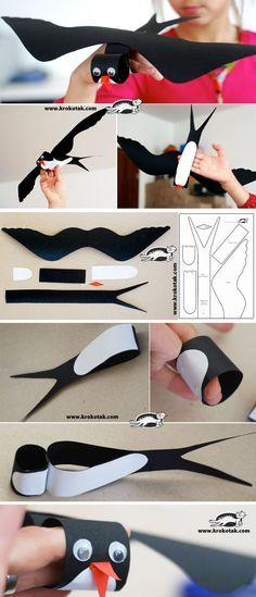 """Black Cardboard SWALLOW This is the bird that appears in the book """"Song of the Swallow."""" This is a good idea for children to see what a swallow looks like. Kids Crafts, Projects For Kids, Diy For Kids, Cool Kids, Diy And Crafts, Arts And Crafts, Paper Crafts, Paper Art, Spring Birds"""