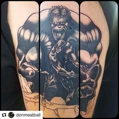 Cool preview of this comic book art tattoo by Artist @donmeatball @royalfleshtattoo Color and background still needed! #chicago #hulk  #wolverine #chitown #chicagotattoo #chicagotattooshops #chicagotattooartist #royalflesh #royalfleshtattoo #coveruptattoo #royalfleshtattooshop #royalfleshtattooandpiercing #maydaytattoosupply #tomahawkcartridges #albroordie #neotat #blackwork #hustlebutterdeluxe #hustlebutter #angelotiffe #angelotiffetattoo #incrediblehulk #logan #wolverine #marvel…