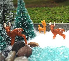 Doe & Fawn Fairy Garden Deer - Miniature Fairy Garden Animals TINY Christmas Holiday Accessories