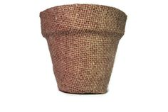 Small Burlap Fabric Covered Flower Pot