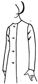Рис. 149. Косые заломы в окате рукава спереди снизу вверх