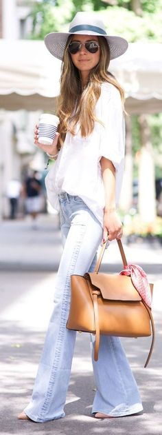 #street #style #spring #fashion #inspiration | White Loose Shirt + Flares | Something Navy