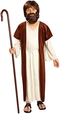 Forum Novelties Biblical Times Jesus Child Costume, Large…100% Polyester, exclusive of trim Biblical Times Jesus costume includes inner robe, outer robe, and belt, all child sizes, up to 100 pounds Beard, sandals, and cane sold separately Ideal for pretend play, stage performances, costume parties, Halloween, and more Made by Forum Novelties, a leader in costumes and novelty products for more than 30 years  (affiliate link)