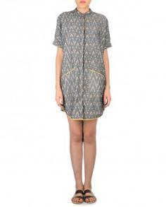 Charcoal Gray Ikat Shirt Dress