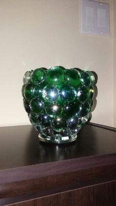 $1.00 store stones glued ona plain green candle holder