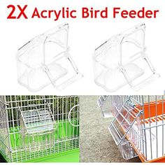 Acrylic Bird Seed Food Feeder 2Pcs/Set Cage Hanging Dish Feeder Dispenser Drinker Supplies Budgie Canary Clear Bowl with Perch ** You can find out more details at the link of the image. (This is an affiliate link) #Birds