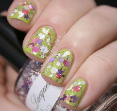 Lumina Lacquer Moon Child over OPI Who The Shrek Are You?
