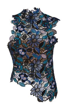 This Celeste Lace Asymmetric Top by **Self Portrait** is detailed with a combination of blue floral hues, a high neck and finished in an asymmetrical fair. There is a nude bandeau slip to secure you with precise coverage.