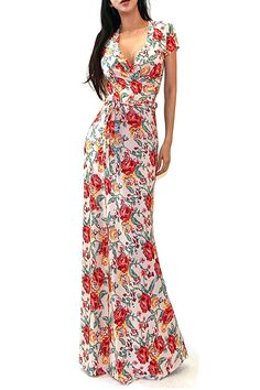 VIVICASTLE Women's Summer Printed V-neck Short Sleeve Wrap Tie Waist Long Maxi Dress (Small, B70, Multi) at Amazon Women's Clothing store: