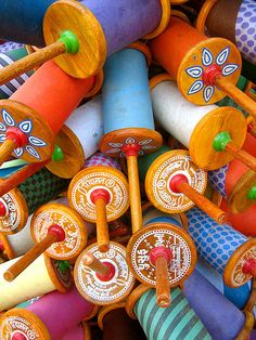 Reels of kites strings for the Kite festival in India! Love these colours, love the exciting culture of India.