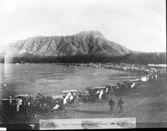 Kapiʻolani Park 1900  Prior to being used as a public space, the area was a mix of swamp land and arid plain unsuitable for building. In the 1870s, Kalākaua was charged to find a permanent, dry course for horse racing. Since Waikiki was popular with wealthy racing fans, Kalākaua chose the unoccupied and dry plain at the foot of Diamond Head where the park now stands.  Source: Kanu Hawaii