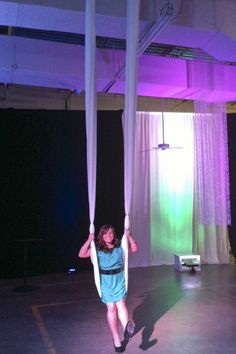 Would love to string up a fabric swing for a party some day!