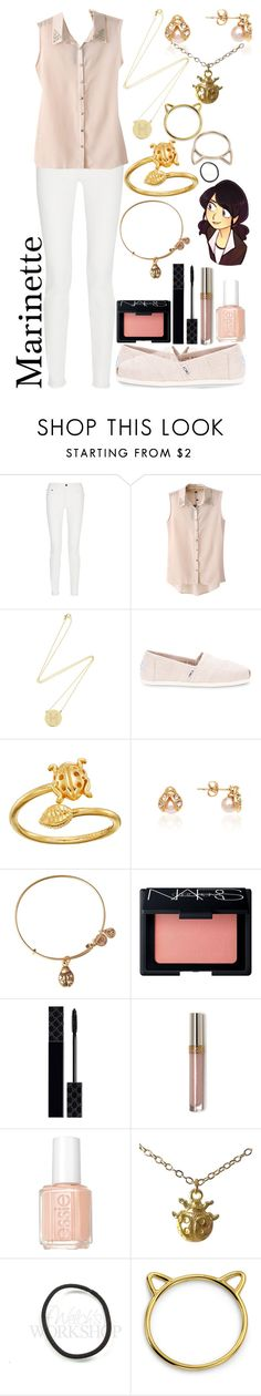 """Marinette Dupain-Cheng outfit #2 [Miraculous Ladybug]"" by ender-chic52 ❤ liked on Polyvore featuring Proenza Schouler, Chicnova Fashion, Jennifer Meyer Jewelry, TOMS, Alex and Ani, Barzel, NARS Cosmetics, Gucci, Essie and Coccinelle"