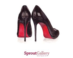 PRINT / ARTWORK of Christian Louboutin Black Stiletto with red sole by SproutGalleryDesigns on Etsy https://www.etsy.com/listing/181449399/print-artwork-of-christian-louboutin