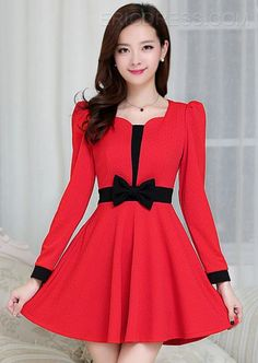 Korean Style New Fashion Bowknot Design Tageskleider Casual Dresses For Women, Short Dresses, Girls Dresses, Clothes For Women, Lovely Dresses, Beautiful Outfits, Dream Dress, I Dress, Korean Fashion
