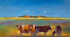 Landschappen Modern Landscaping, Figure Painting, Cows, Paintings, Places, Cow, Animaux, Deko, Paint