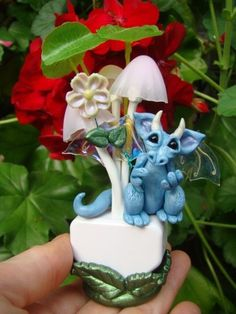 OOAK Dragon on a NIGHT LIGHT w/ Stand Polymer Clay Baby Fairy Art Doll Miniature #ClafullCritters