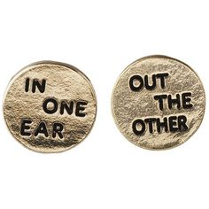 In One Ear Out The Other Gold Studs Earrings ($3.75) ❤ liked on Polyvore featuring jewelry, earrings, accessories, fillers, gold jewelry, stud earrings, gold stud earrings, gold earrings and gold earrings jewelry