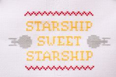 star trek themed cross stitch sampler