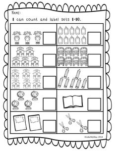 Printables Counting Objects Worksheets cuenta corta y pega numero cantidad print and go math worksheets back to school the first couple weeks of are