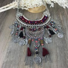 2016 Fashion Power choker Statement Bohemian necklace pendants Vintage Coin gypsy ethnic Silver maxi Necklace Women fine Jewelry