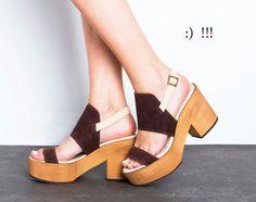 Summer Platform sandals.  Andrea Dark BROWN and white. Summer shoes, 10 cm back platform. on Etsy, $228.00