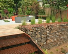 Gabion Baskets Seattle For Contemporary Landscape Exterior Home Ispirations: Gabion Baskets For Stairs At Outdoor Garden Ideas ~ shokoa.com Home Accessories Inspiration