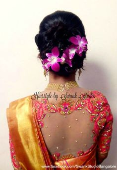 Indian bride's reception hairstyle by Swank Studio. Saree Blouse Design. Hair Accessory. Orchids. Tamil bride. Telugu bride. Kannada bride. Hindu bride. Malayalee bride. Find us at https://www.facebook.com/SwankStudioBangalore
