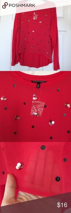 Victoria's Secret Long Sleeve Top in Red Size S Size Small / See through front with sequin clusters / Long Sleeves Victoria's Secret Tops Blouses