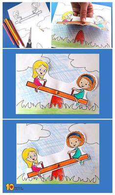 Kinder auf Seesaw Paper Activity - activities for preschoolers Bird Crafts, Flower Crafts, Easter Crafts, Paper Crafts For Kids, Diy For Kids, Puppets For Kids, Art N Craft, Paper Toys, Toddler Crafts