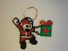 Perler Ornament Christmas Megaman by thepixelpeddler on Etsy, $6.00