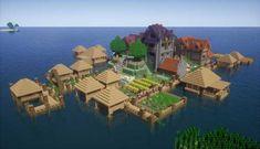 Island Village Transformation - Minecraft World Minecraft Structures, Easy Minecraft Houses, Minecraft City, Minecraft Plans, Minecraft House Designs, Minecraft Survival, Minecraft Decorations, Amazing Minecraft, Minecraft Tutorial