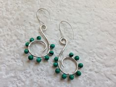 Silver Spiral Earrings with Malachite. $34.00, via Etsy.