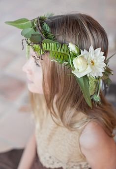 floral wreath with ferns, photo by Buena Lane, flowers by Lilify http://ruffledblog.com/western-nomadic-styled-shoot #floralcrown #wreath #wedding