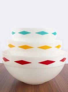 Vintage Fire-King Diamond Band Bowls