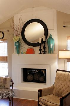 Spring Mantel #lpcliving #apartments. Bring this green into the family room.